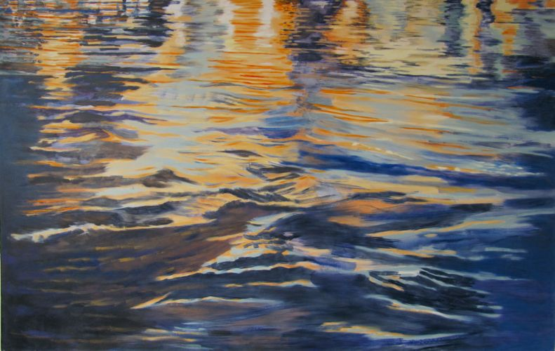from the ongoing Night Thames series, 2009, Oil on canvas, 114 cm x 180 cm