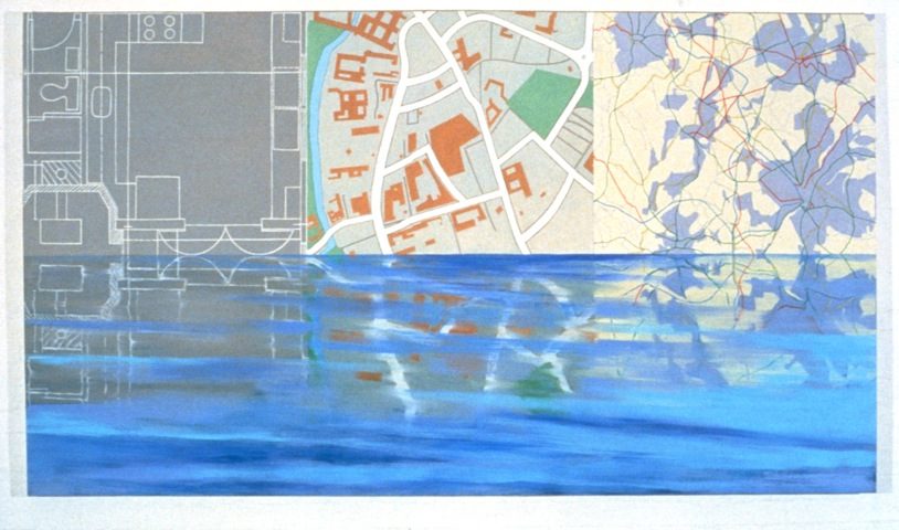 Maps, 1987, Oil on canvas, 150cm x 264cm